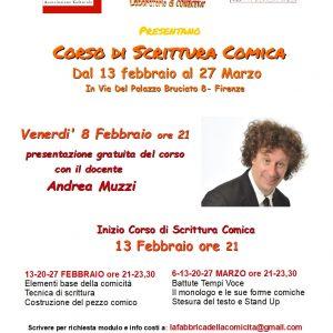 8 FEBBRAIO SI RICOMINCIA! PRESENTAZIONE DEL CORSO DI SCRITTURA COMICA 2019
